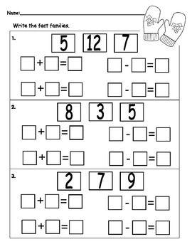 Fact Family Worksheet | Fact family worksheet, Kids math ...