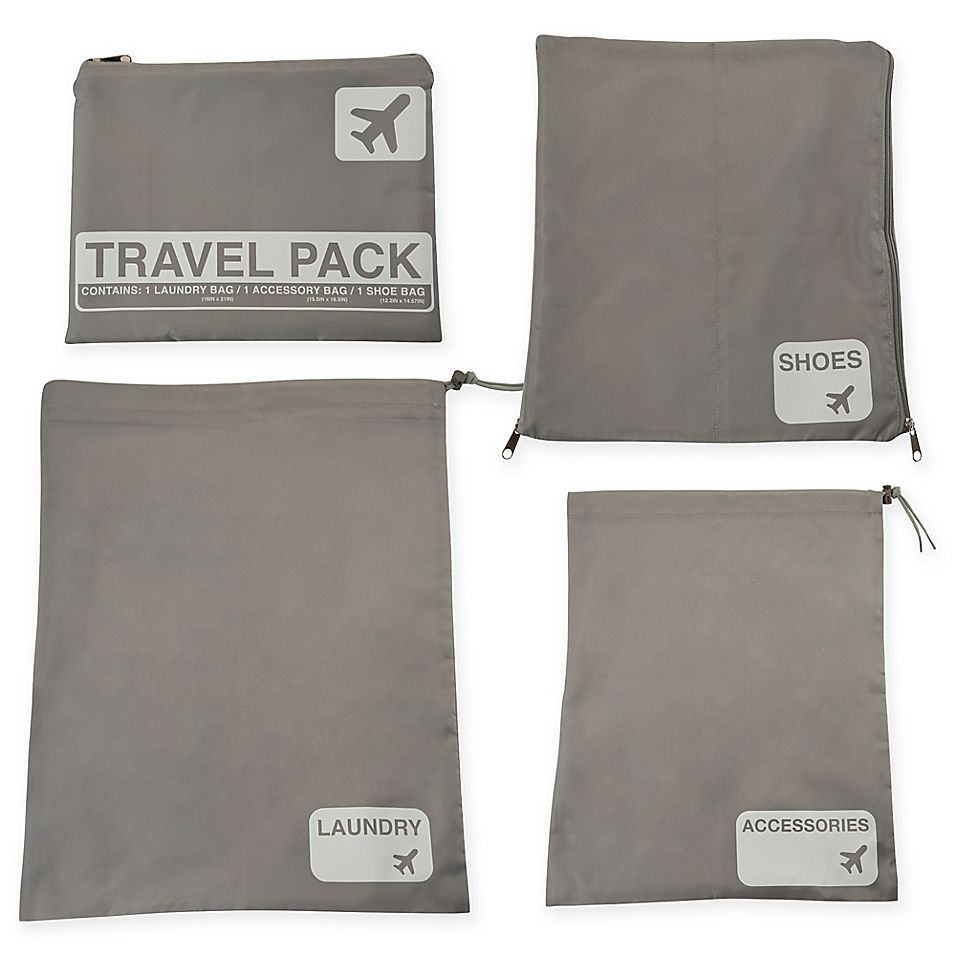 Photo of Latitude 40°N Jet Set 4-Piece Travel Laundry Bag Set Grey