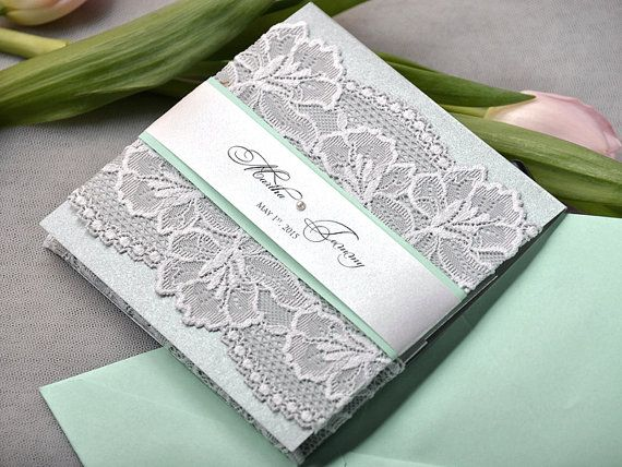 mint wedding invitations mint green and silver lace wedding invitation pocket fold 5958