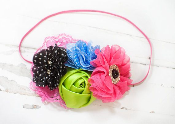 Fuchsia Bloom - headband in hot pink/fuchsia, blue, apple green and black - M2M Persnickety - Forget Me Not