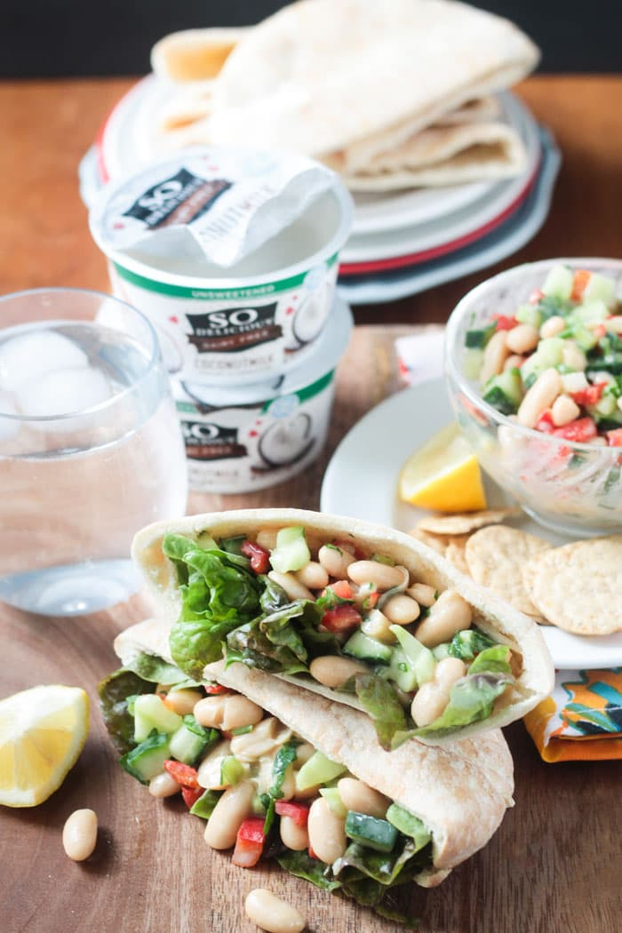 Quick & Easy White Bean Salad (vegan, gluten free) Quick & Easy White Bean Salad - An easy light lunch ready in under 10 minutes. Easily packable in a lunchbox. Serve it up in a pita, between two slices of bread, over lettuce, with crackers, or simply on it's own. Using non-dairy yogurt as the base of the sauce, it's quick, easy and super flavorful.