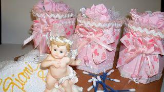 Mundo Encantado do Artesanato: Potes decorados para quarto de bebê em madeira e tecido