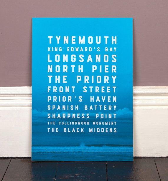 A fantastic gift for a Geordie! A photograph of the North East coast at Tynemouth Longsands with text of destinations in and around the Tynemouth area.
