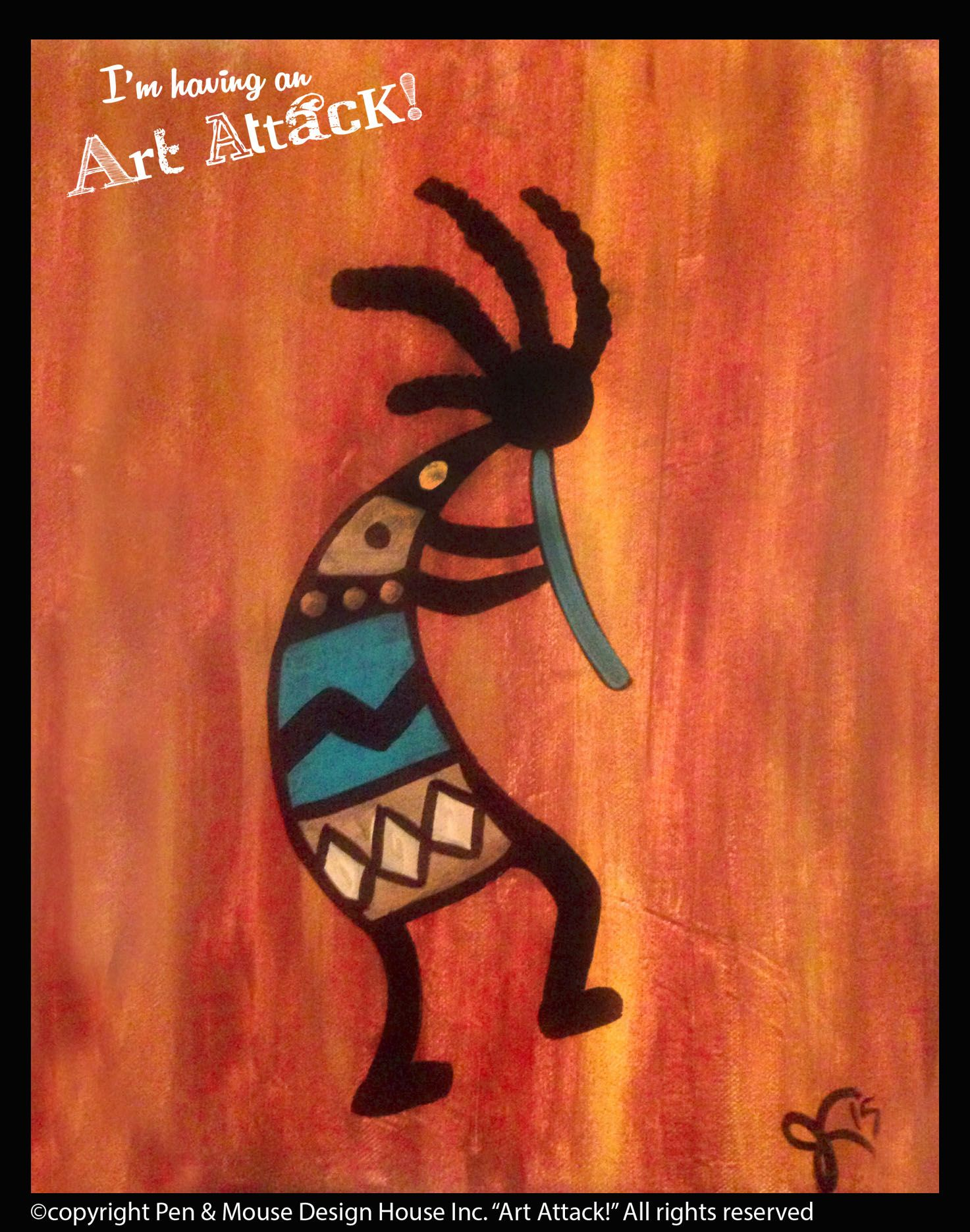 Kokipelli Art Attack Paint Parties Www Artattackpaintparty Com Art Wine Painting Abstract Canvas