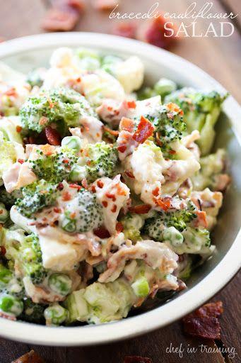 Broccoli Cauliflower Salad With Cauliflower, Broccoli, Celery, Frozen Peas, Chopped Bacon, Mayonnaise, Sugar, Parmesan Cheese, Vinegar, Salt, Chopped Onion
