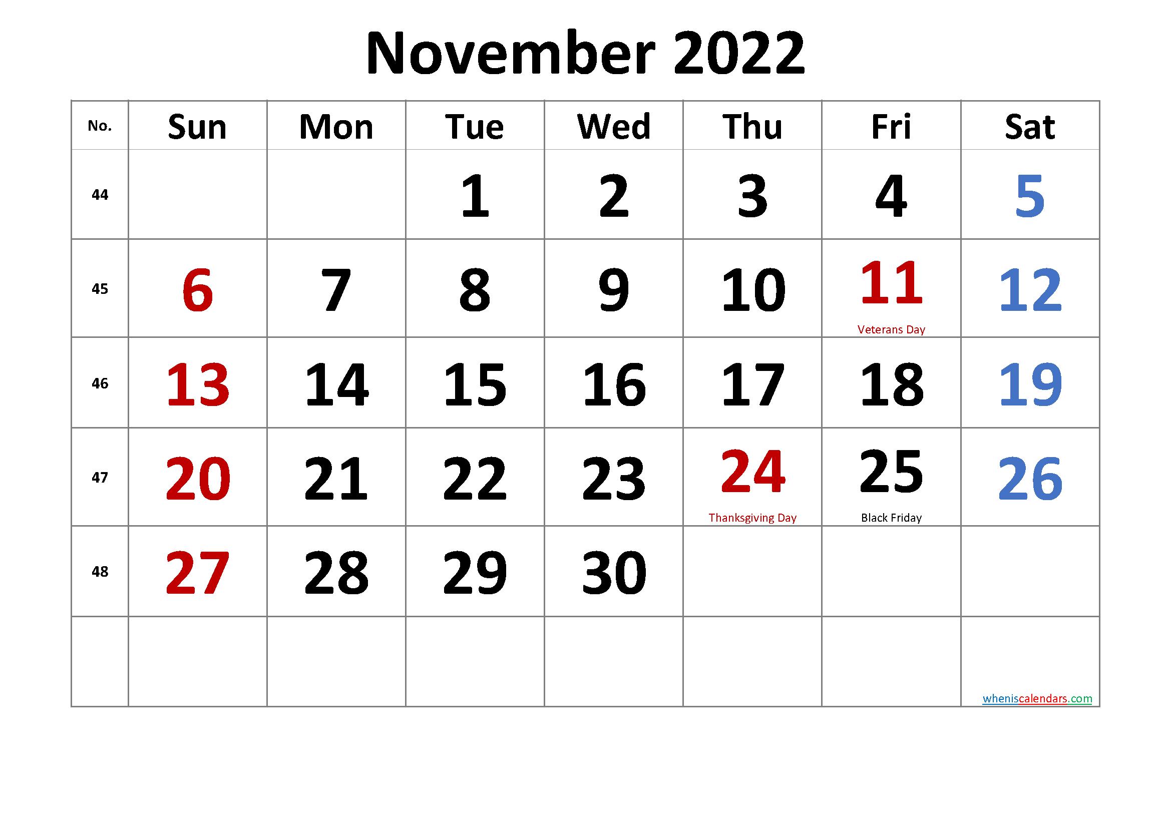 Printable November 2022 Calendar.Free Printable November 2022 Calendar Pdf And Png In 2020 Calendar Printables Calendar Word November Calendar