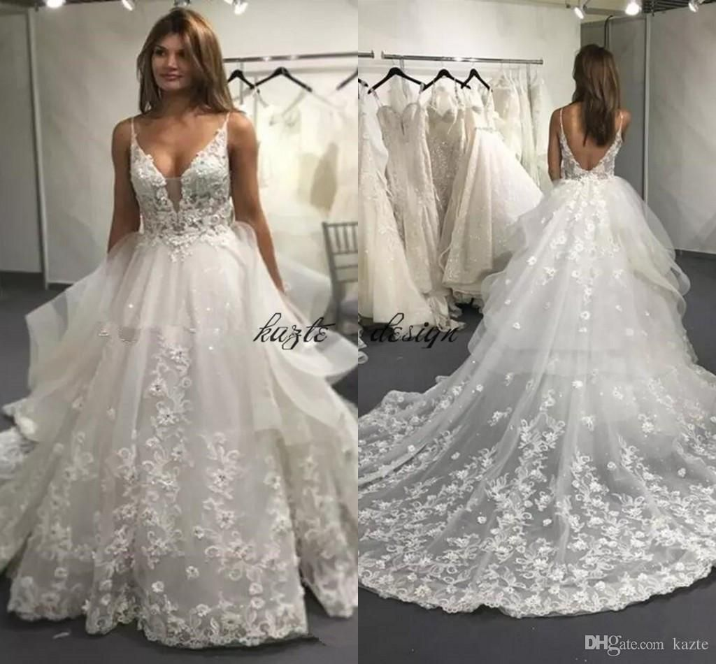 2018 Ball Gowns Full Lace Wedding Dresses Sexy Backless V Neck Appliques  Long Court Train 3D 0276c505f67d