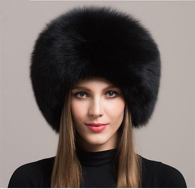 ee2a6ff7d Women Real Black Fox Fur Hat Russian Winter Warmer Ear Cap Ushanka ...