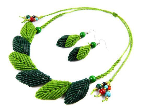 Choker Ear Dangles Leaves Macrame Green Jewelry by ValaddaJewelry
