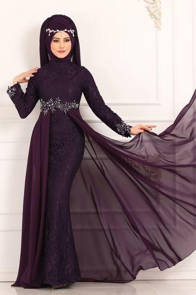 Modaselvim Abiye Beli Incili Dantel Balik Abiye 8855w153 Mor Kiyafet Elbiseler Giyim
