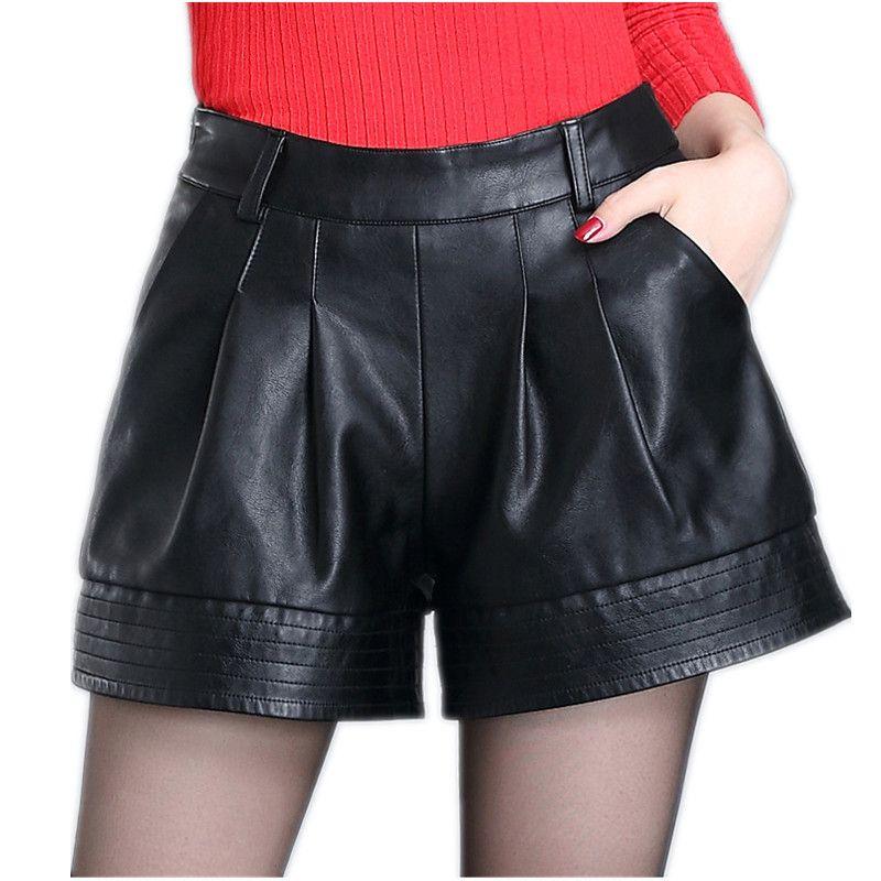 375ed334d11f Solid Black Plus Size Women Winter And Autumn Pu Shorts High Waist Female  Loose Short Femme Women S Shorts