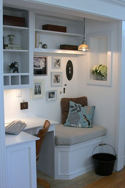 turn garage into office remodel turn your spare closet into home office love this one small space in former closetlove the built seat