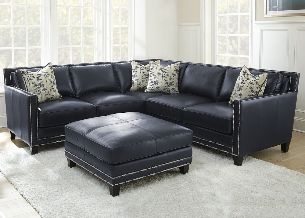 Best Sectional Couch Sofa Blue Silver Nailheads Top Grain 640 x 480