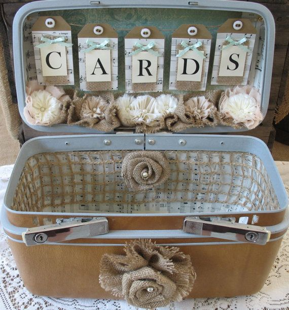 Vintage Suitcase Wedding Card Box Wedding Card Holder Wedding Decoration Mint #vintagesuitcasewedding