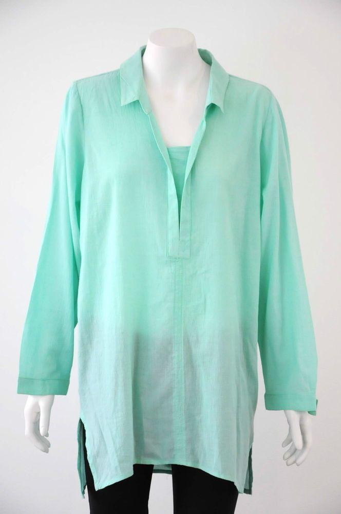 The Ark  Women s Green Long Sleeve Shirt / Top {Size L / 14}