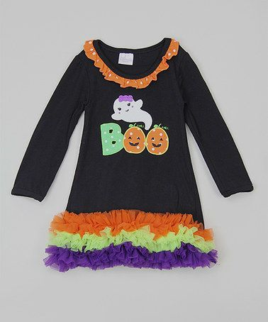 This Black 'Boo' Ruffle Shift Dress - Infant, Toddler & Girls is perfect! #zulilyfinds