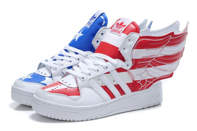 online store 1ac1f 3ec0a Adidas JS wings Stars and Stripes flag of USA White blue red. Adidas ObyO  Jeremy Scott Wings 2.0 American Flag