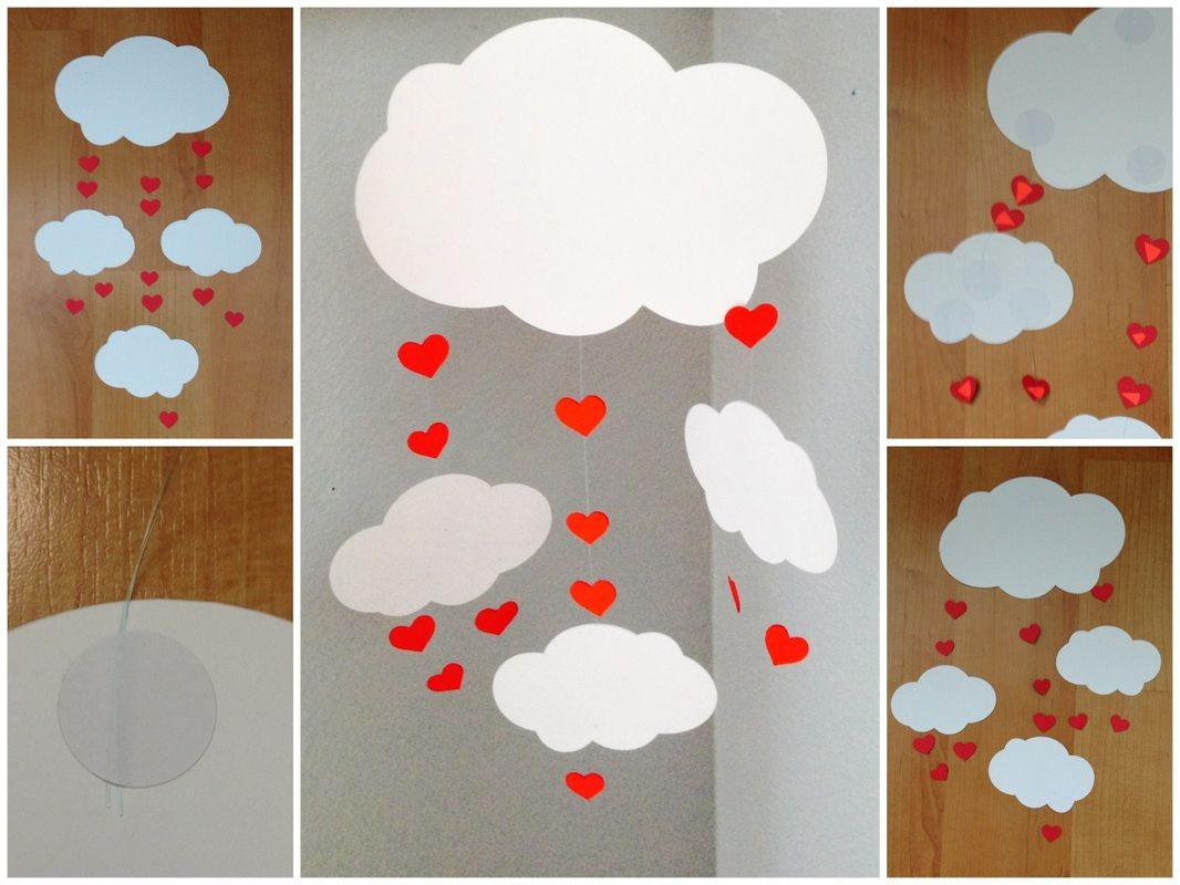 DIY  Heart and cloud mobile. Valentines day gift.