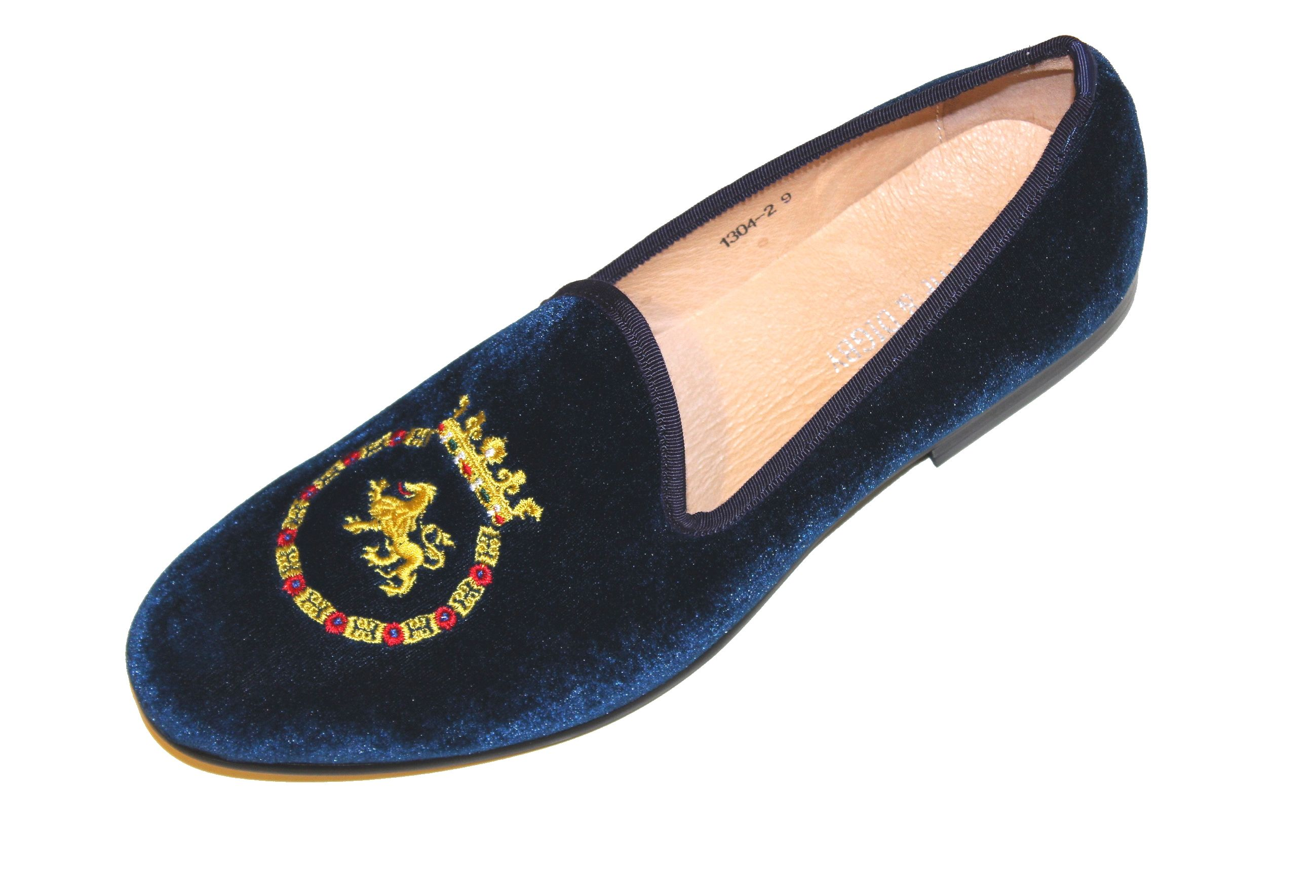 456f44a796974 Navy blue velvet loafer. King crested velvet slippers. | SMYTHE ...