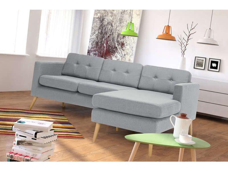 canap d 39 angle fixe 4 places yonis coloris gris pas cher c 39 est sur large. Black Bedroom Furniture Sets. Home Design Ideas