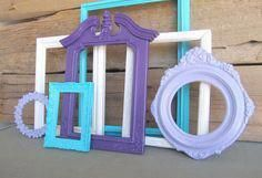 Purple Lilac Turquoise and White OPEN Frames Set of 7  Upcycled Frames Dorm Room Teenage Bedroom Modern Bedroom Decor #Purplebedroom #Modern #turquoiselivingroomdecor #purpledormrooms