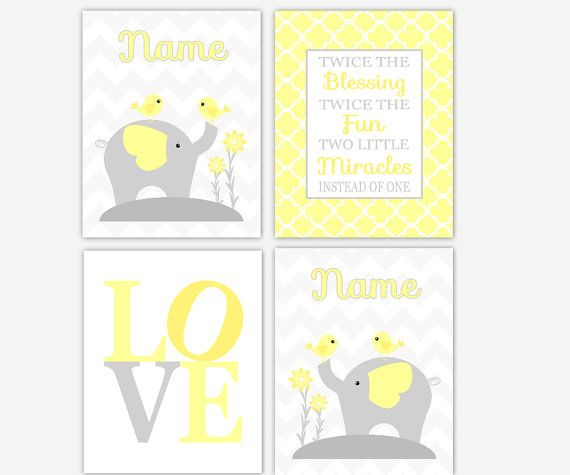 Elephant Twin Nursery Wall Art Nursery Room Decor For Twins: Twins Baby Nursery Wall Art Gray Yellow Elephant LOVE