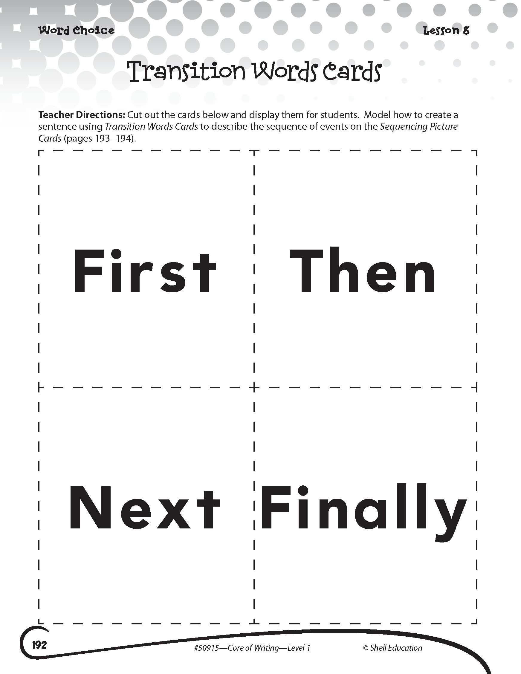 Transition Words Cards From Getting To The Core Of Writing