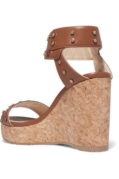 ea412e611ae1 Jimmy Choo - Nelly Studded Leather Wedge Sandals - Tan