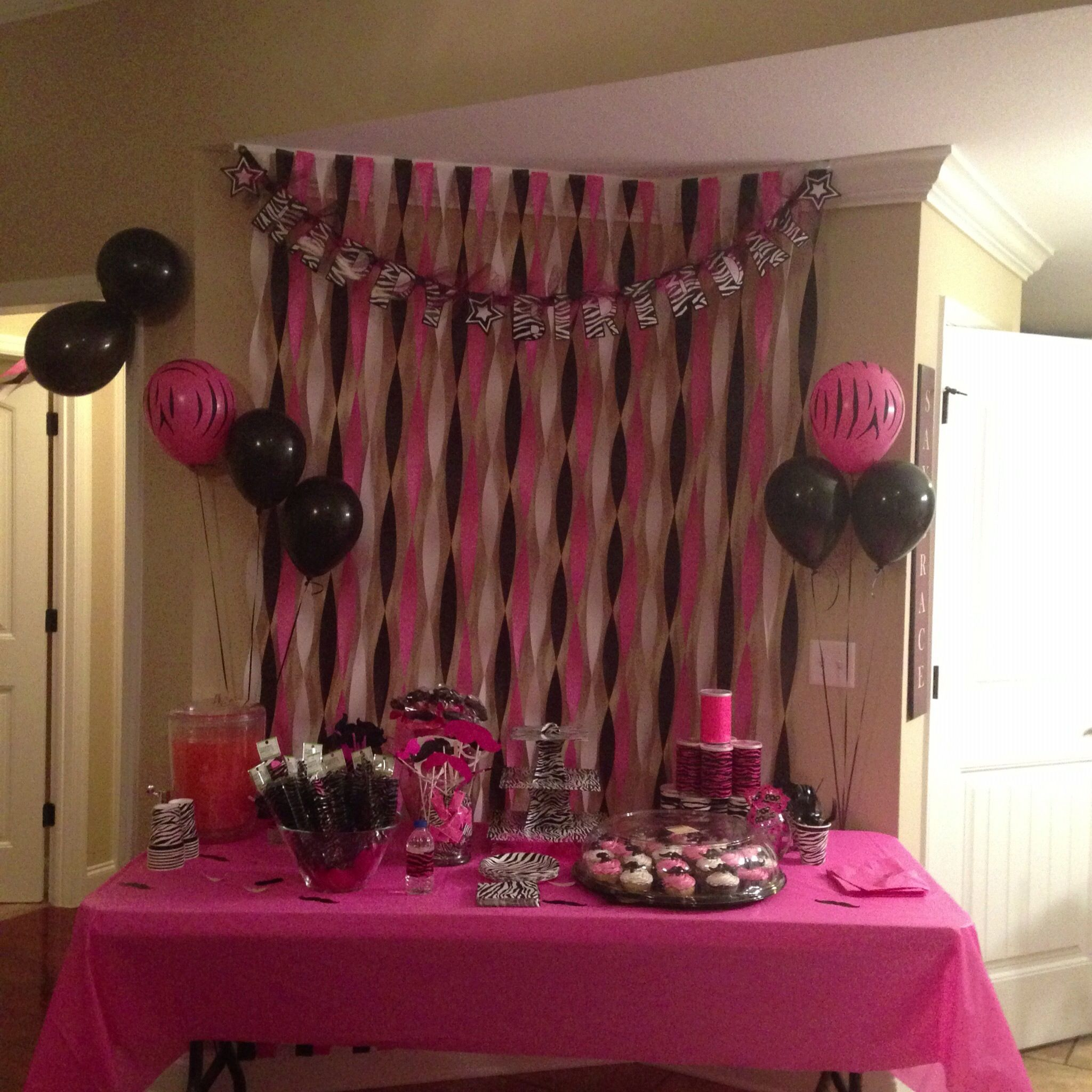 Pink and Zebra print Mustache Party Party Ideas Pinterest