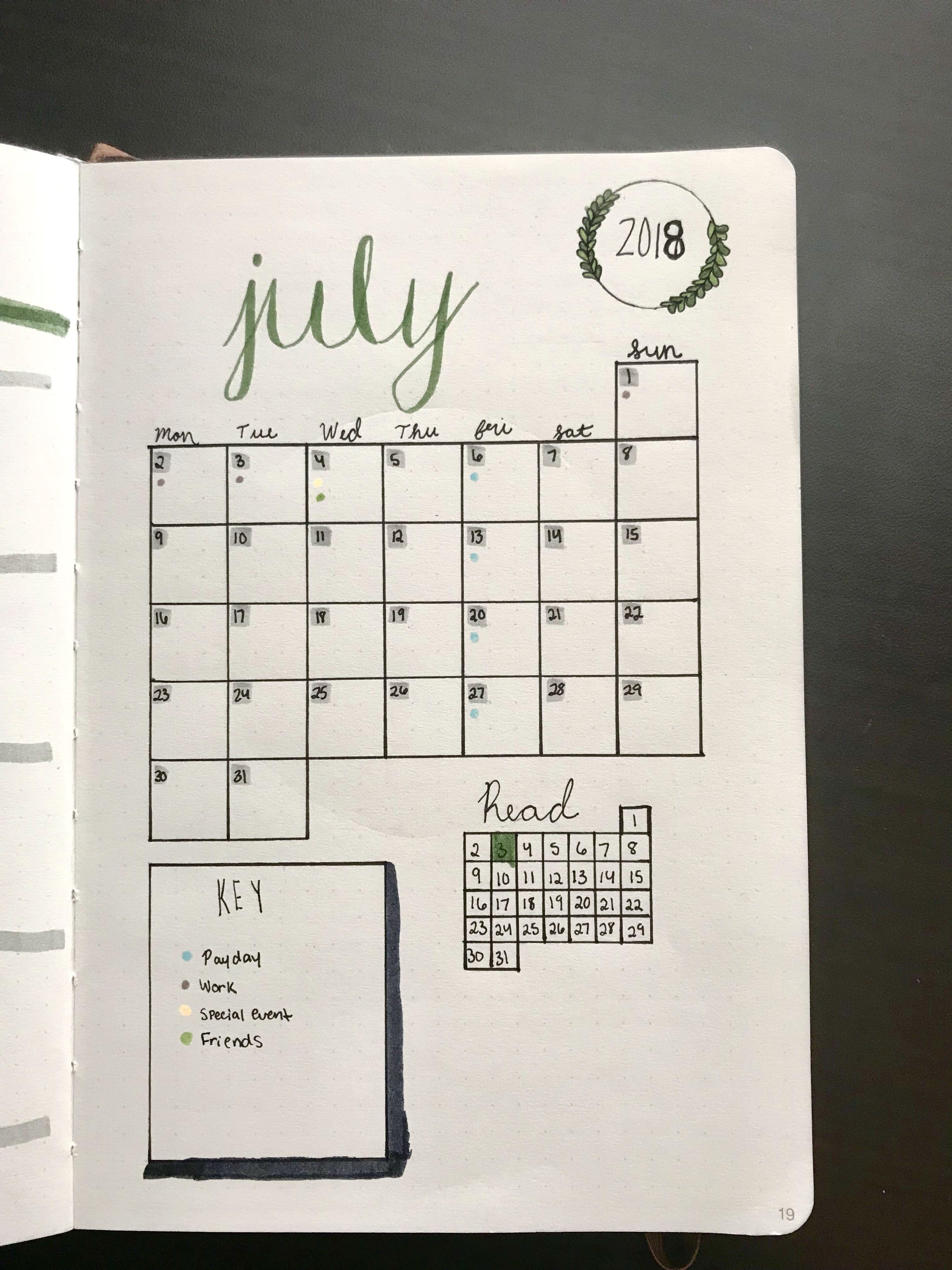 Monthly Calendar For Bullet Journal Habit Tracker Habit
