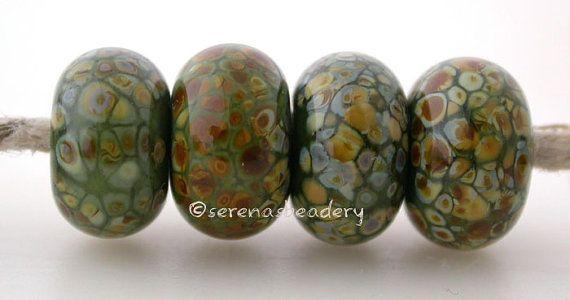 Lampwork Beads Frit on Black Glass Set of 9