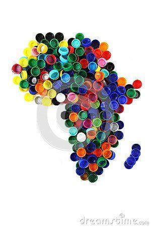 Couleur De L Afrique.Carte De L Afrique Des Capuchons De Plastique De Couleur