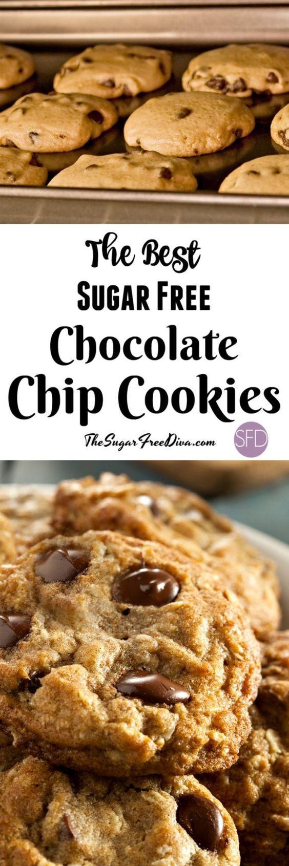 The Best Sugar Free Chocolate Chip Cookies via @thesugarfreediva