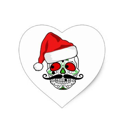 Funny christmas sugar skull heart sticker christmas stickers xmas eve custom holiday merry christmas