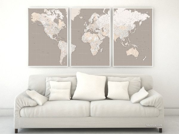 Highly detailed word map poster set in earth tones set of 3 split custom quote highly detailed world map poster split in 3 panels with cities capitals countries us states gumiabroncs Images