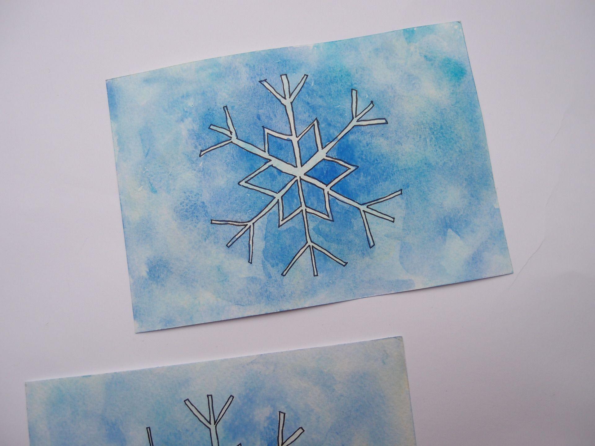 Aquarelle Flocon De Neige Carte Hiver Bleu Peintures Par