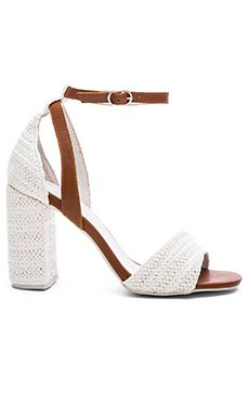 Jeffrey Campbell Sibu Heel in Beige Raffia Tan