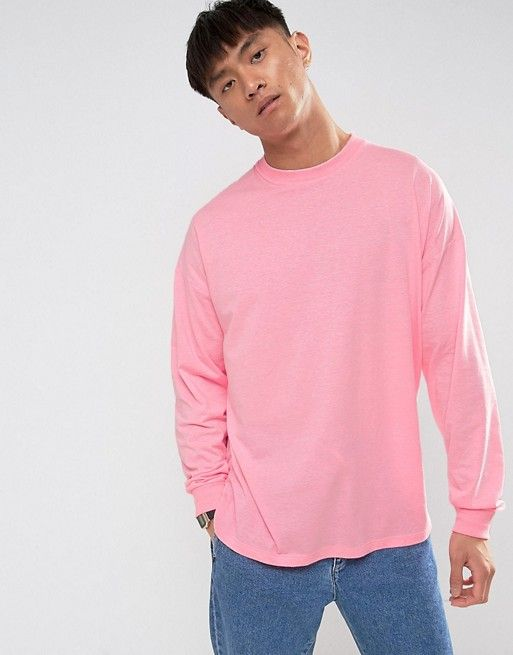 ASOS Oversized Long Sleeve T-Shirt With Cuff In Pink e731ae28778