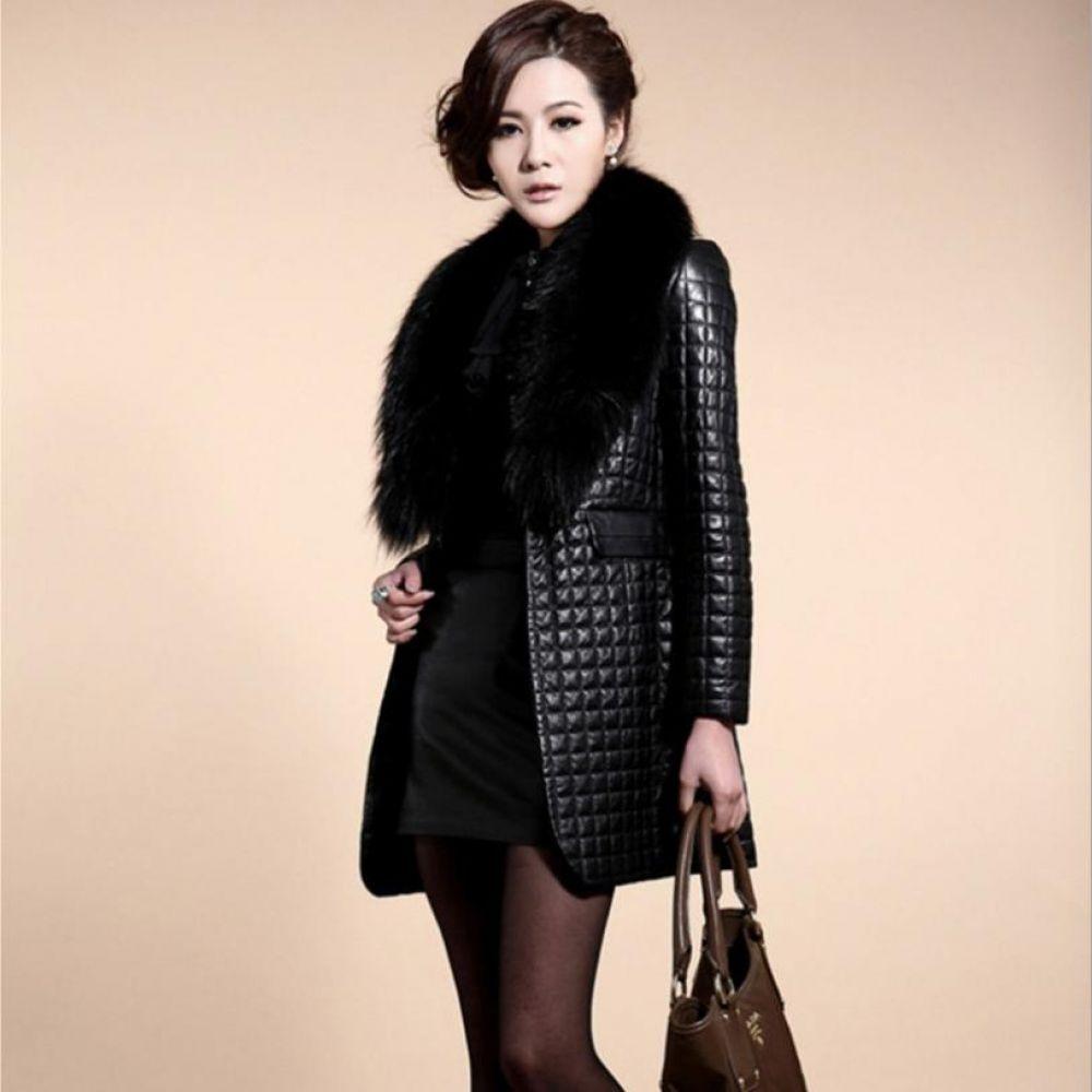 6c36f398c Faux Fur coat big Raccoon Dog Fur collar faux leather thicken warm ...