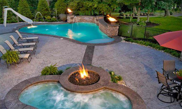 Fire+Water Combo in 15 Traditional Pools with Fire Pits Pool