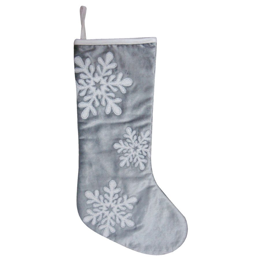 Shop allen + roth 19-in Silver Cotton Embroidered Christmas Stocking ...
