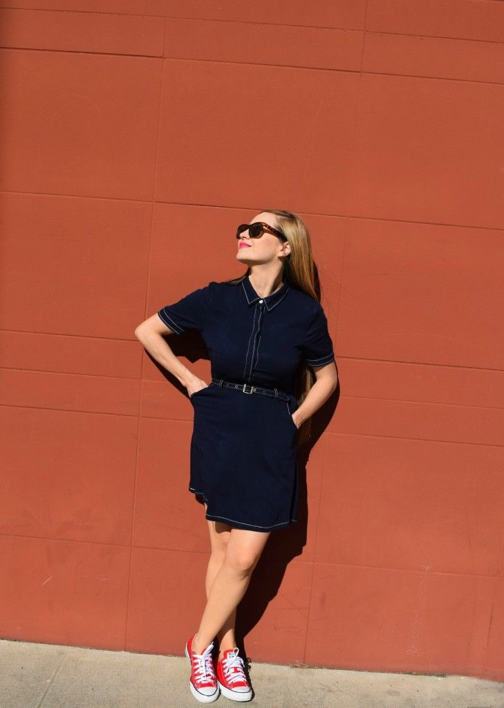 Navy Collar Dress Mom Fashion