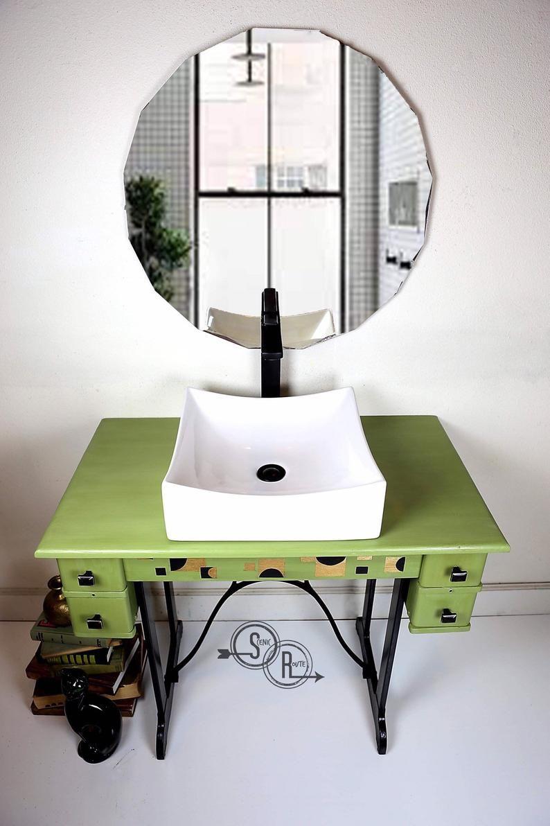 Bathroom Vanity Mid Century Retro Modern Vessel Sink Etsy Small Bathroom Vanities Diy Bathroom Design Modern Small Bathrooms [ 1192 x 794 Pixel ]