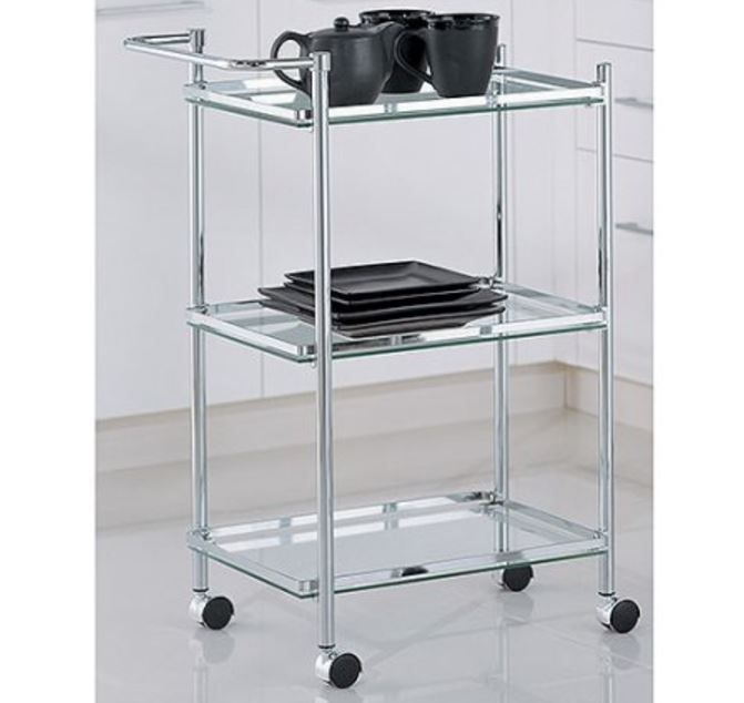 Tiered Serving Cart Small Glass Rectangular Rolling on Wheels ...