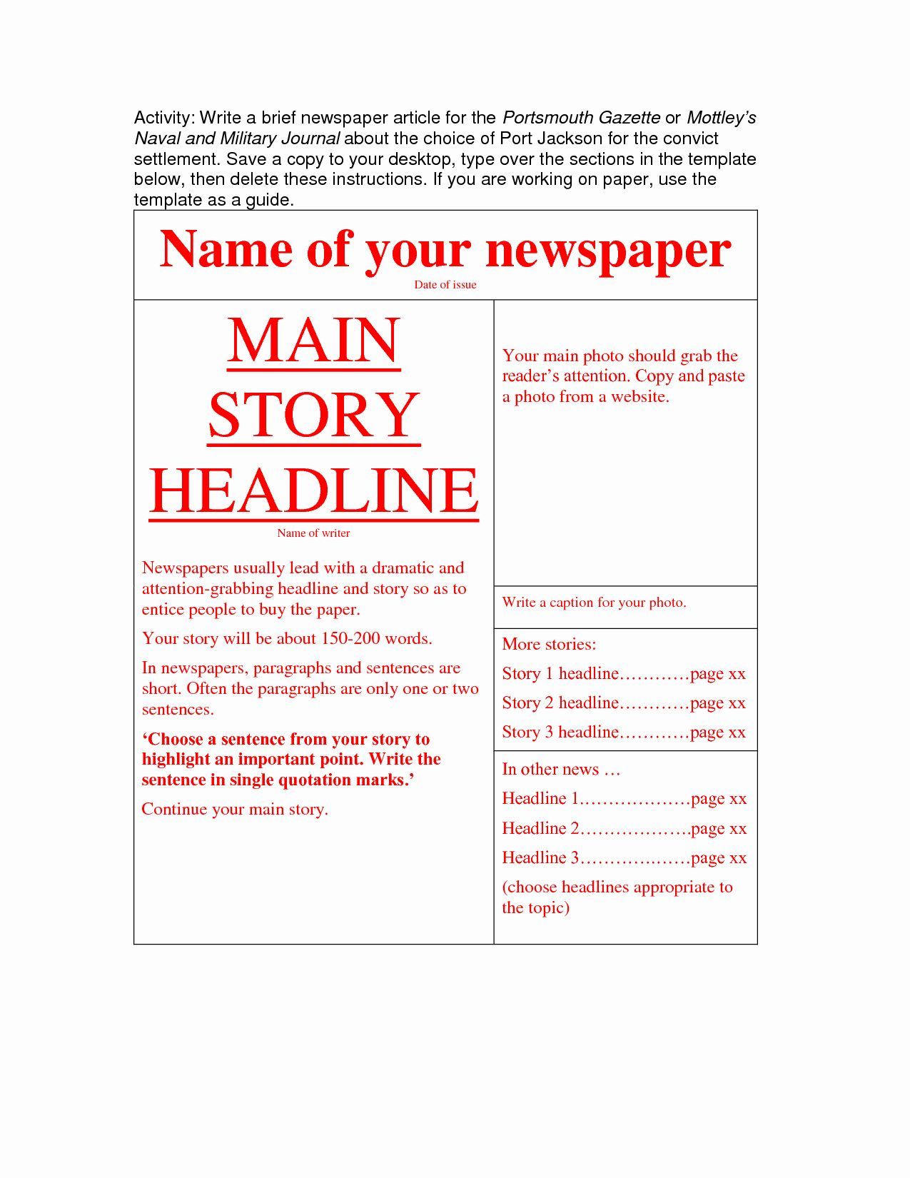 Newspaper Article format Template Lovely Newspaper Article