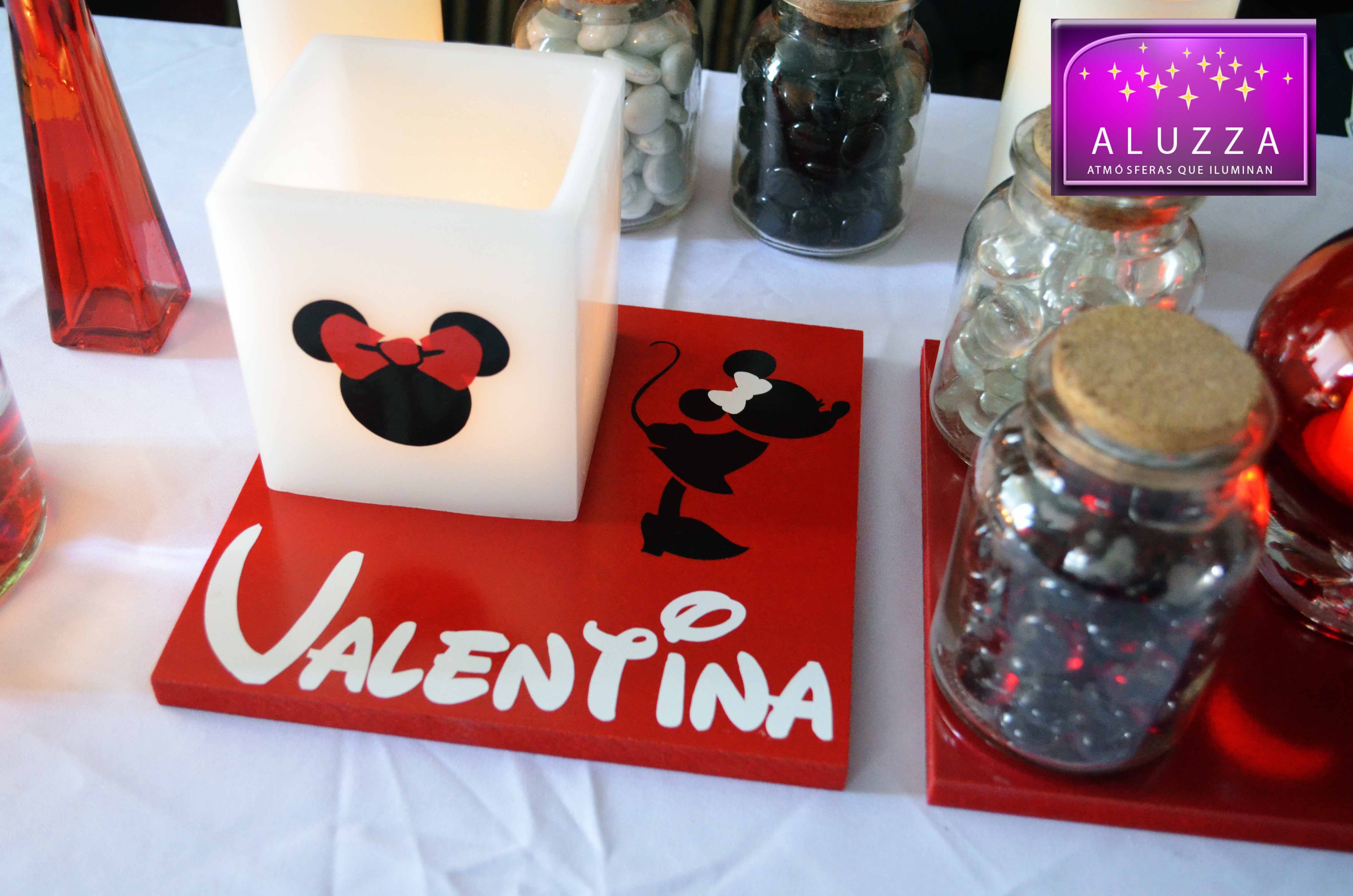 Centro de mesa de minnie con base de madera color rojo o - Base de vela ...
