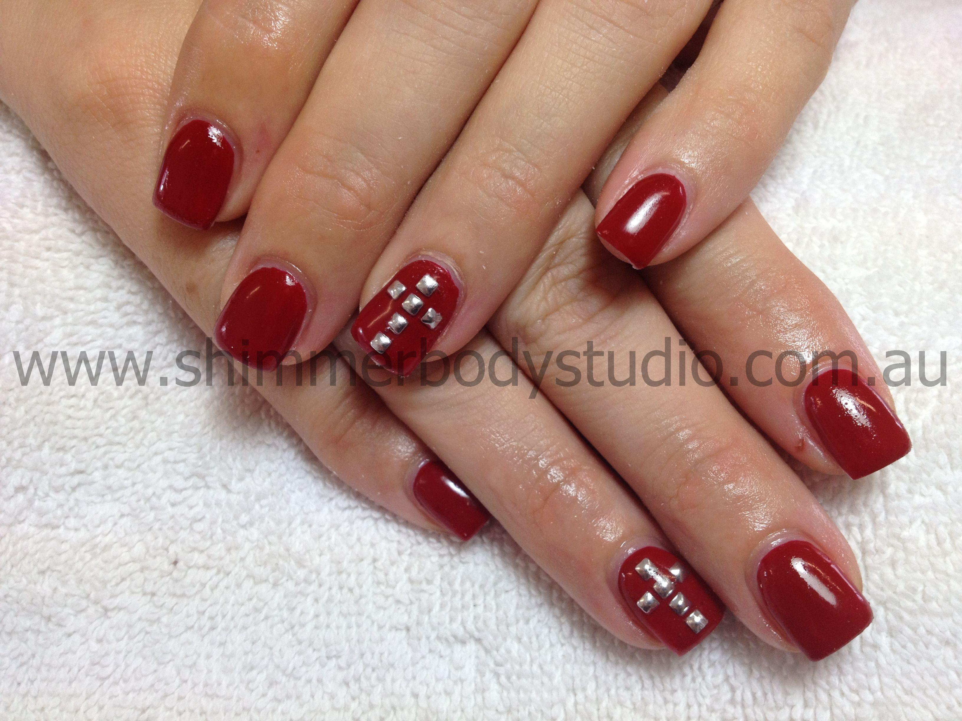 Gel Nails, Red Nails, Cross nail Art, Studs. | Nails: Full Colour ...