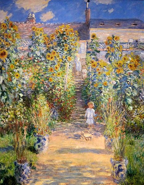 Monet's vivid lighting of barefooted children and their mother in a sun flower garden