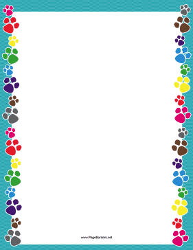 There are colorful dog paw prints on the sides of this printable