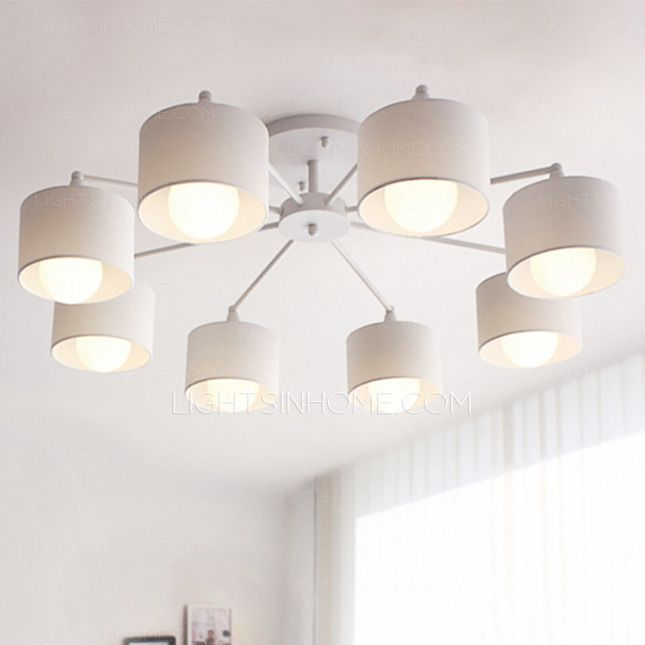 Simple 8 Light E26 E27 White Flush Mount Ceiling